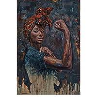 Rzhss 壁に強力な黒人女性のキャンバスの絵画ポスターとプリントリビングルームの装飾のための黒人女性の壁の写真の肖像キャンバスに印刷-50X70Cmフレームなし
