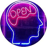 Open Mind Brain Storming Dual Color LED看板 ネオンプレート サイン 標識 青色 + 赤色 210 x 300mm st6s23-i3299-br