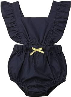 Karuedoo Infant Baby Girl Bodysuit Sleeveless Backless Ruffles Romper Sunsuit Outfit Newborn Summer Clothes 0-24M