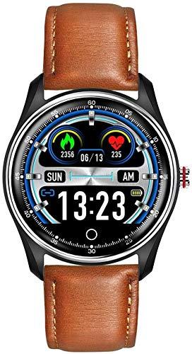 Pulsera impermeable inteligente, pantalla táctil, monitor de frecuencia cardíaca y presión arterial informe marrón_Gürtel