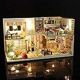 tulipes Casa De Muñecas En Miniatura con Muebles, Kit De Casa De Muñecas De Bricolaje, Villa Hecha A Mano Ensamblada En 3D con Luces LED Y Cubierta Antipolvo Regalos Creativos De Cumpleaños De Ideal