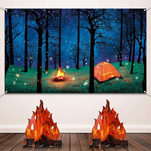 Forest Scene Camping Backdrop Camping Photography Background Camping Photo Backdrop and 2 Sets 3D Decorative Cardboard Campfire Centerpiece Artificial Fire Party Decoration for Camping ThemeParty