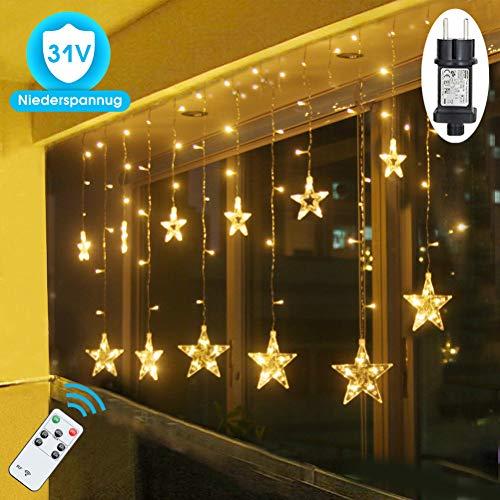 SMITHROAD LED Sternen Lichterkette Warmweiß Lichtervorhang mit Fernbedienung Timer 31V Niederspannung IP44 mit 8 Lichteffekte für Innen Außen Weihnachtsbeleuchtung Fenster Deko 2,2M x 1M(LxB)