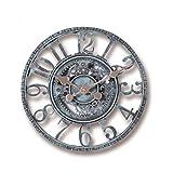 OocciShopp Reloj de Pared, Creativem, Reloj de Pared para jardín al Aire Libre, Impermeable, Adorno de jardín Vintage, Engranaje Hueco, Reloj Colgante con números Romanos