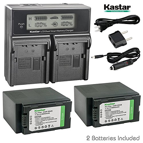 Kastar Dual Fast Charger + Battery 2x for Panasonic CGR-D54S CGA-D54S CGR-D54 CGA-D54 AG-AC90 AG-DVC30 DVC32 DVC33 AG-DVC60 AG-DVC62 AG-DVC63 AG-DVC80 AG-DVC180 AG-DVX100 AG-DVX102 AG-HPX170 AG-HPX250