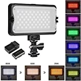 RGB LED Camera Video Light, Dimmable 2500K-8500K Camcorder LED Light Panel for Digital SLR Cameras with 0-299 Muti-Color Types, White Filter, Battery and Charger
