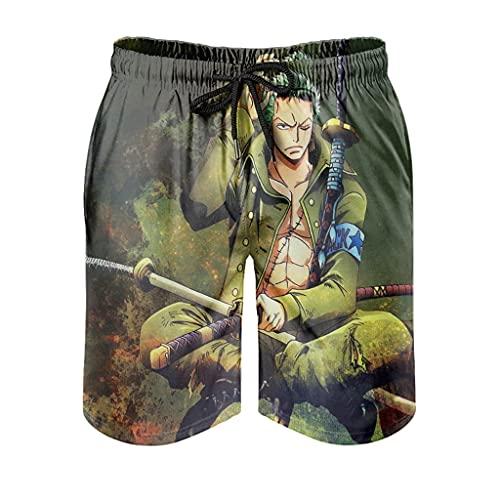 Dessionop Pantalones cortos de playa para hombre, con estampado de cazador pirata, ropa de playa con forro cómodo, Hombre, Blanco, large