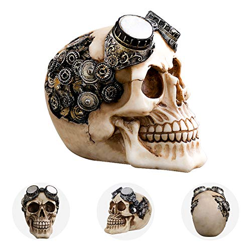 shirylzee Totenkopf Steampunk Halloween Schädel Skull Harz Totenköpfe Figur für Halloween Bar Party Dekoration Ornament