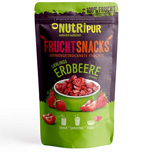 Erdbeeren gefriergetrocknet 70g I Getrocknete Erdbeeren Scheiben ohne Zucker I 100% Frucht, voller Geschmack