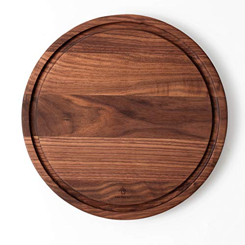 Befano Round Black Walnut Cutting Board for Kitchen with Deep Juice Groove, Cheese Board, Charcuterie Board, Serving Tray, Chopping Board for Meat, Bread, Gift Box Included 12.5x0.8Inches