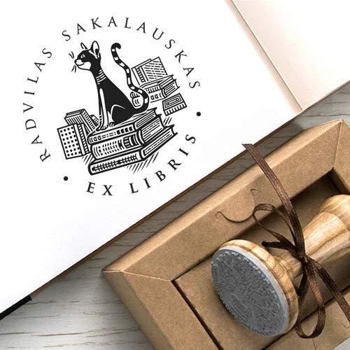 Stempel Katze, Stapel Bücher, Katzenmotiv Buchstempel, Ex libris, Original Kraft Papier Geschenkbox
