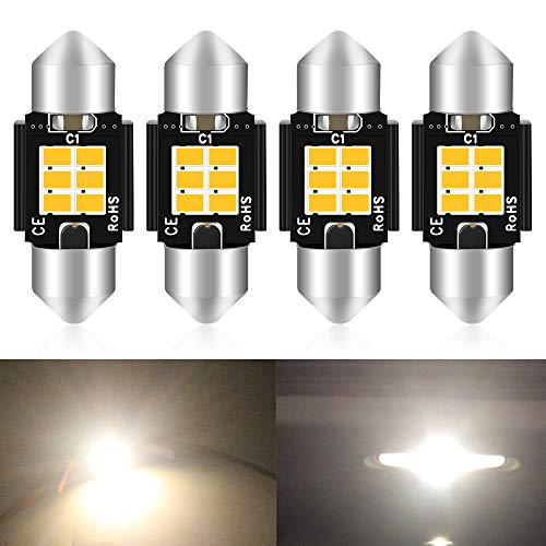 "4-Pack 1.25 ""31MM DE3175 6428 Blanco cálido 3020 6SMD Sin error de polaridad Canbus Sin LED Festoon Bombillas para luces interiores del automóvil Matrícula Dome Mapa 3000K"