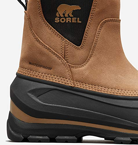 SOREL Men's Buxton Pull-On Boot — Delta, Black — Waterproof Suede Leather Snow Boots — Size 10