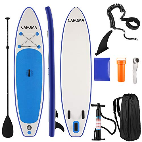 Caroma Inflatable Paddle Boards,10'6' inflatable SUP Board for Adults Kids Stand Up Paddle Board with SUP Accessories Travel Bag, Non-Slip Deck, Adjustable Paddle, Leash and Fin for Surfing Yoga