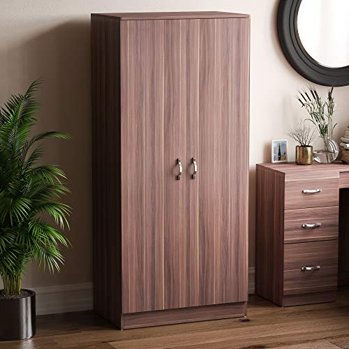 Vida Designs Riano 2 Door Wardrobe, Walnut Shelf & Hanging Rail Wooden Bedroom Storage Furniture