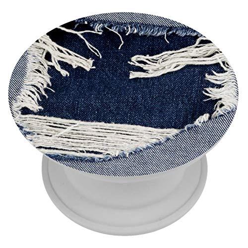 LORVIES Jeans Denim Gescheurde Textuur Mount Houder Uitbreiding Telefoon Popper Grip en Stand Hand Houder Knop voor Mobiele telefoon,1 PCS