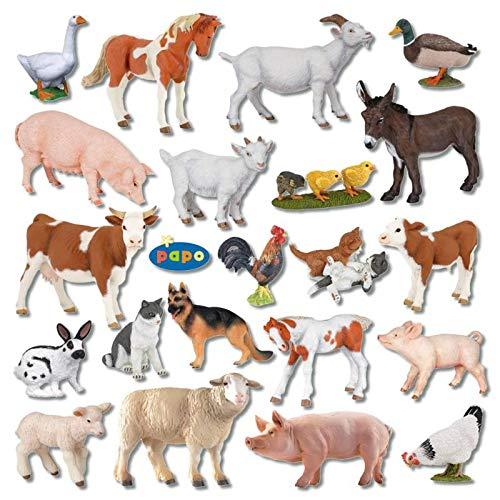 Wiemann Lehrmittel 24 Bauernhoftiere im Set, Hoftiere als Spielzeugfiguren