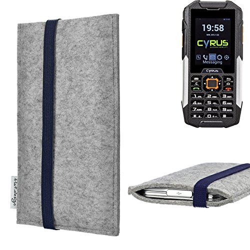 flat.design Handy Hülle Coimbra für Cyrus cm 16 - Schutz Case Tasche Filz Made in Germany hellgrau blau