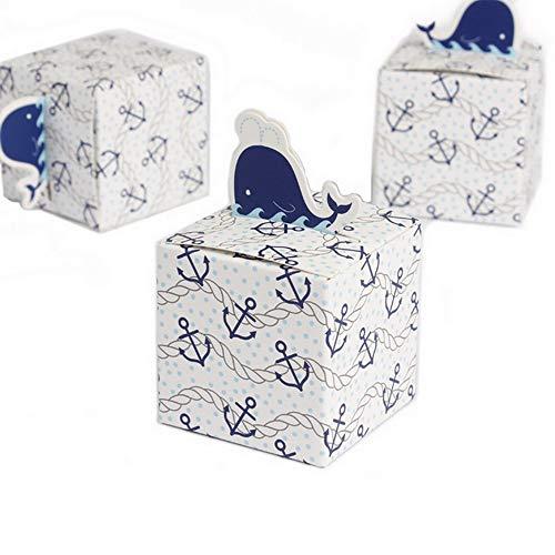 Kingsley 50pz Bombones Candy cajas regalo cajas de Caramelo Cubo Baby Shower Favor Cajas de Papel delfín Tema Viaje Mundo