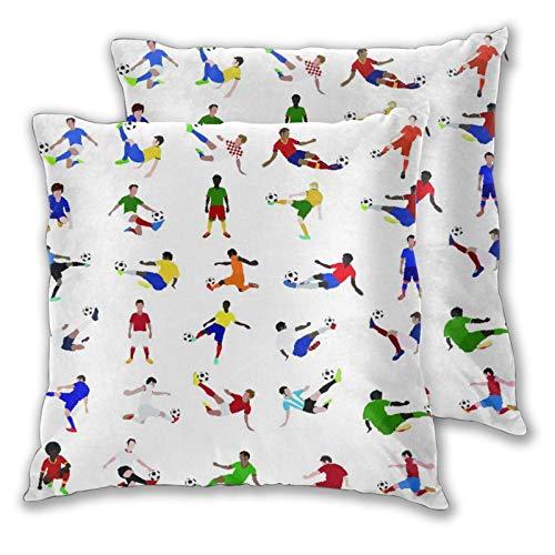 BROWCIN 2 Pack Funda de Almohada Colección de Jugadores de fútbol Lino Suave Cuadrado Sofá Cama Decoración Hogar para Cojín 45cm x 45cm