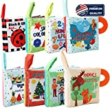 Soft Baby Books Cloth Book Set,2Teether 8 Books, Baby's First Soft Crinkle Books Early Learning...