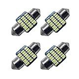 Ruiandsion Lot de 4 ampoules navettes LED 28 mm Bleu glacier Super Lumineuses Puces 3014 21SMD pour voiture, plafonnier, carte, miroir