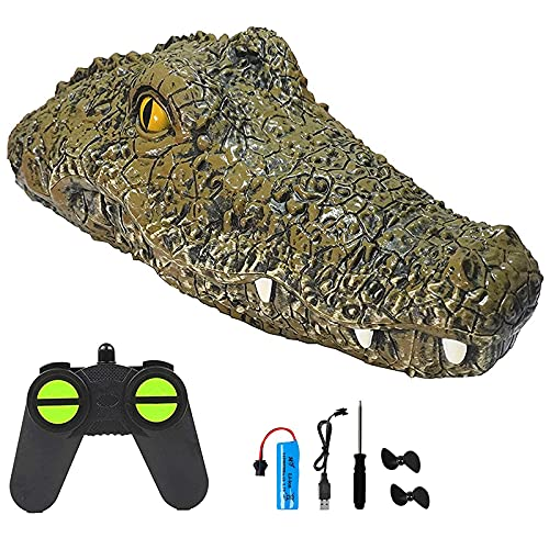 Masefu RC Alligator Head Boat, 2.4 GHz Remote Control Crocodile Boat with Low Battery Protection, 15mph High Speed, Great for Guard Prank in Swimming Pool Pond Lake Home Decoration, Floating Alligator