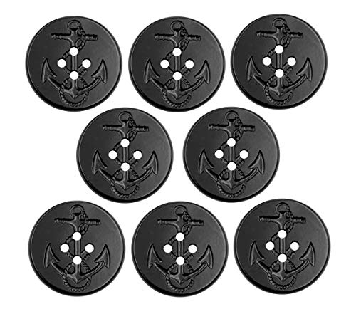 """AlenaMokhan 8pcs Military Naval Navy Type Peacoat Pea Coat Anchor Buttons - L50 Extra Large 1.25"""" (32mm) - Black Plastic"""