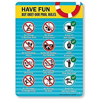 """SmartSign 14 x 10 inch """"Have Fun But Obey Our Pool Rules - No Diving No Glass…"""" Metal Sign with Symbols Screen Printed 40 mil Laminated Rustproof Aluminum Multicolor"""