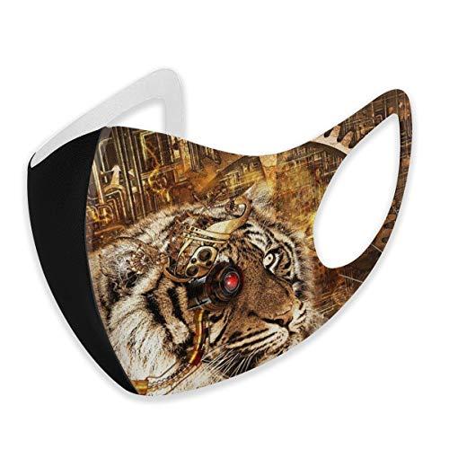 Mundschutz für Erwachsene, Steampunk, Tiger, Gold, Anti-Staub, halbes Gesicht, Winddicht, für Damen und Herren