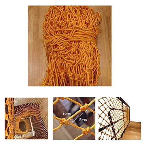 Trappen veiligheidsnet oranje, 6 mm in diameter, Kabeldiameter 5cm, Speeltuin hindernisnet Hangbrugleuning Winkelcentrum decoratie netwerk Isolatienet (Size : 4 * 6M(13 * 20ft))