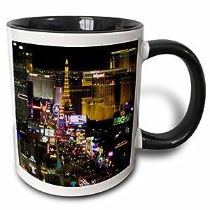 3dRose Las Vegas Strip At Night Two Tone Mug, 11 oz, Black/White from 3dRose