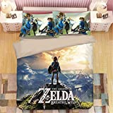 IFITBELT Bettlaken 3D Zelda Breath of The Wild Bettbezug 3-teiliges SetS Baumwolle, Anime Cartoon 3D Druck Bettwäsche Bedsure 3 Sets, 1 Bettbezug, 2 Kissenbezüge, 200*200cm (AU Single(140X210),zb15)