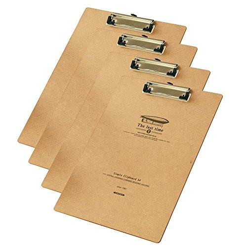 Portapapeles de Madera A4 con Pinza 4 Pcs Portapapeles de Oficina A4 Alta Calidad Tablero con Pinza Madera A4 con Hanging Hole y el Diseño de las Cuatro ImáGenes de Last Time
