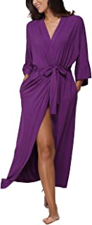 Women's Soft Robes Long Bathrobes Modal Sleepwear Dressing Gown,Solid Color