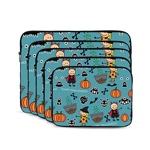 KUUDJIT Halloween Blue 12/13/15/17 Inch Laptop Sleeve Bag for MacBook Air 13 15 MacBook Pro Portable Zipper Laptop Bag Tablet Bag,Diving Fabric,Waterproof