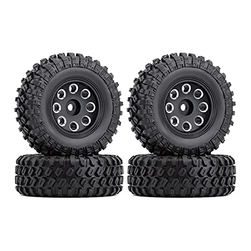 HYZZ Neumáticos de Coche de Juguete 4 Uds 1,0 '49 * 18mm Beadlock Micro Llantas De Rueda De Orugas Juego De Neumáticos para 1/24 RC Crawler Car Axial SCX24 90081 AXI00001 ( Size : 4PCS AX2404BK )