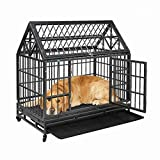 """COZIWOW 37""""/42.5"""" Heavy Duty Dog Kennels and Crates for Large Medium Dogs, Hard-Sided Escape Proof Pet Dog Cage for Travel Indoor Outdoor with Safety Lock,Floor Tray, Double Doors"""
