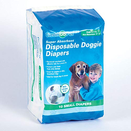Clean Go Pet Disposable Doggie Diapers — Convenient Diapers for Incontinent Dogs, Dogs in Heat, and Puppies, Small