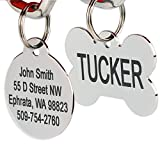 GoTags Pet ID Personalized Dog and Cat Tags. Stainless Steel. Custom Engraved with up to 8 Lines of Text. Front and Backside Engraving. Round Shape Regular.