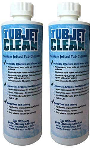 Jetted Tub Cleaner Easy, Safe, Concentrated Self Cleaning Bath Tub Jet and Plumbing System Cleaner for Your Hot Tub, Whirlpool, Spa, or Jacuzzi - (Premium Formula - 8 cleanings per bottle) (2 bottles)