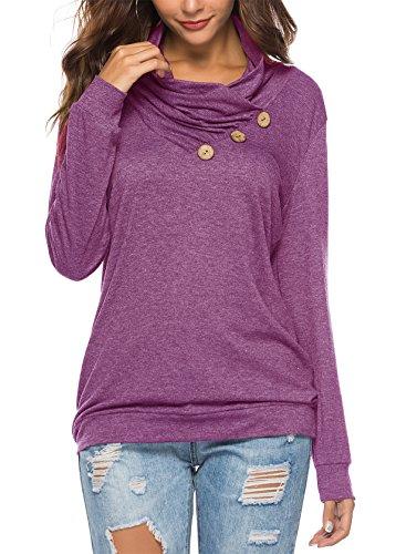 KISSMODA Damen Langarmbluse Elastic T-Shirts Tops Wine Red Medium