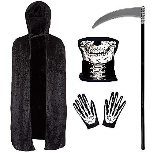 Grim Reaper Costume 4 Piece Set- 140 Cm Long Black Velvet Hooded Cape, Skull Face Mask, Skeleton Hand Gloves, and Scythe Prop – Fancy Dress, Halloween Costumes for Men and Women