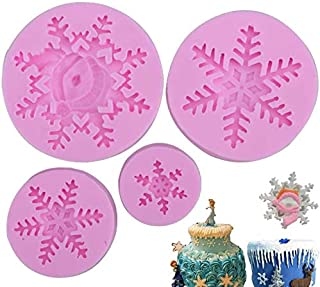Baking Funny 3D Snowflake Fondant Mold Silicone Mold for Cake Cupcake Decoration Set of 4