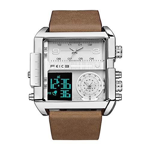 FEICE Herren Quarzuhr Multifunktions 24H Kalender Lederarmband Armbanduhr Einzigartig - FK030