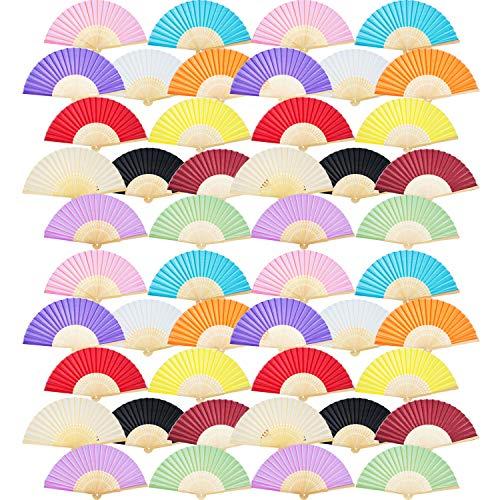 12 Piezas de Abanico de Mano Abanicos Plegables de Bambú Seda para Regalo de Boda de Iglesia, Favores, DIY Decoraciones (Multicolor)