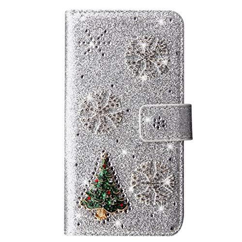 King Phone Natale Custodia Cover Samsung Galaxy J7 2017 J730 Glitter Bling Libro Pelle Christmas Custodia Portafoglio Magnetica Chiusura Supporto Di Stand Protettiva Custodia, Argento