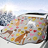 Pillow Bags Boxer Emoji Cute Funny Dog Breed Fabric Grey Car Front Windshield Cover Foldable Sunshade Fits Most Cars, Trucks, SUV's