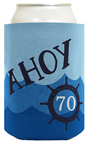 70th Birthday Gifts For All Funny Beer Coolie Ahoy 70 Sailing Boating Nautical Gift 2 Pack Can Coolie Drink Coolers Coolies Ocean