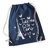 Autiga Turnbeutel Take me to Paris Eiffelturm Hipster Beutel Tasche Jutebeutel Gymsac Navy Unisize